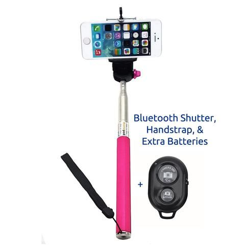 Minisuit Selfie Stick with Bluetooth Remote for Apple & Android Phones - Pink