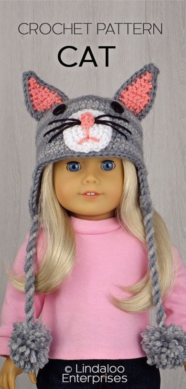 CAT HAT for AMERICAN GIRL DOLLS ❤ Crochet pattern in the book ...
