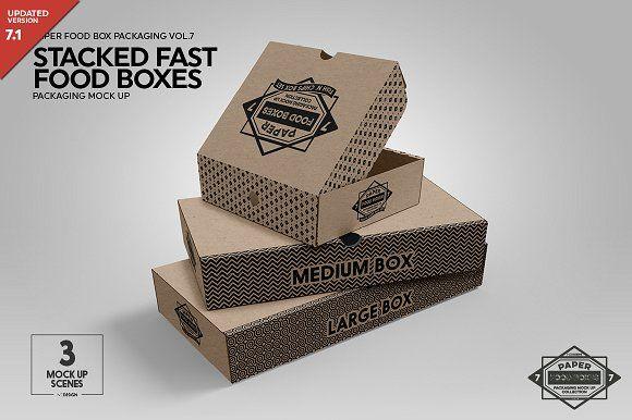 Stacked Fast Food Boxes Mockup Box Mockup Free Packaging Mockup Packaging Mockup