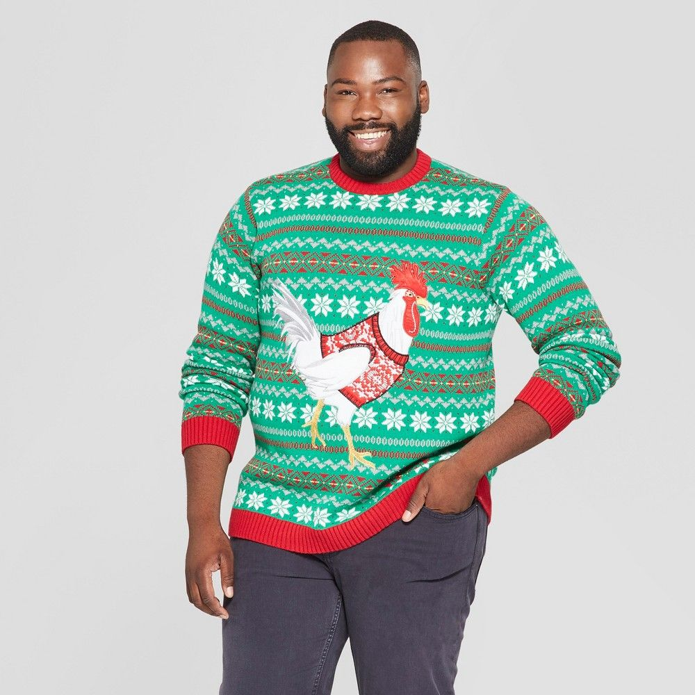 33 Degrees Mens Big Tall Ugly Holiday Christmas Sweater Chicken
