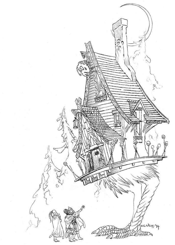 vess_coloring_7.jpg (687×960)   Baba yaga, Baba yaga house ...