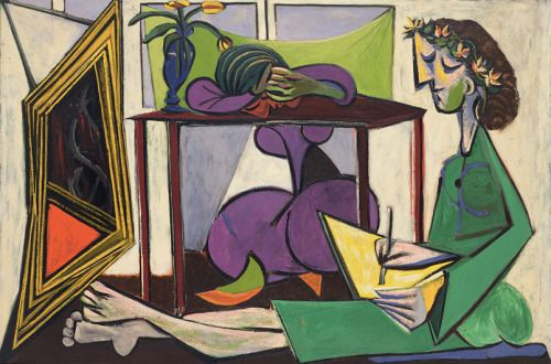 Pablo Picasso Interior with a Girl Drawing (Deux femmes)...