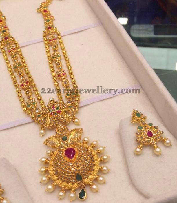 Bridal Diamond Necklace And Haram Set: Uncut Diamond Long Chain 88Gms