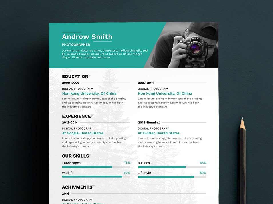 30 Most Beautiful Minimalist Cv Template Psd For Free Download Photographer Resume Resume Template Free Resume Design Free