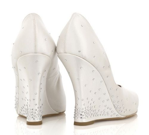 a6ded7f10e09 Tabitha Simmons Ivory satin wedge pumps encrusted with Swarovski crystals