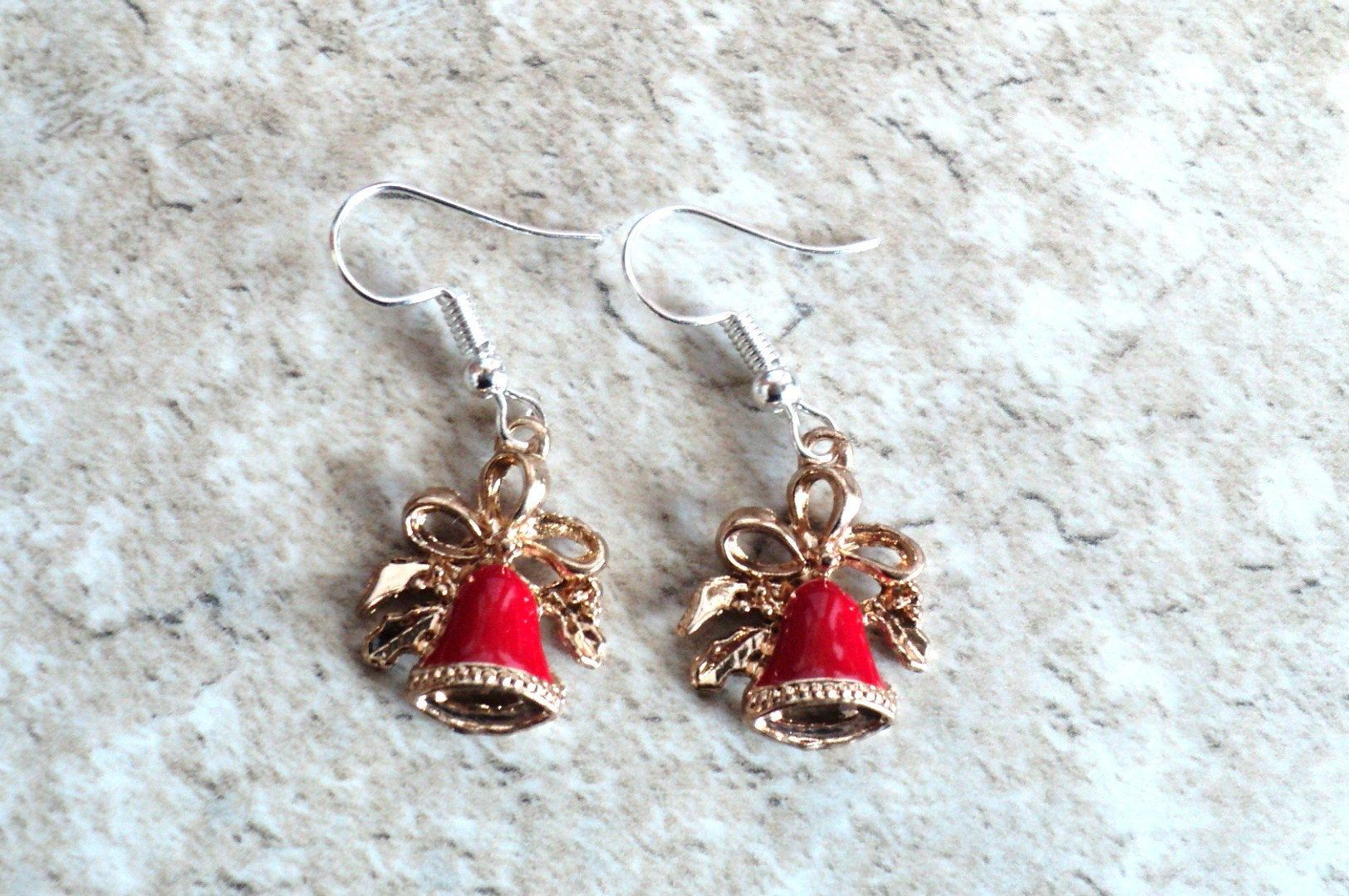 Festive Red Christmas Bell Earrings Holiday Charm Earrings Red Bells Christmas Gift Gift For Her Jewelry Gift Vintage Christmas Jewelry Gifts Christmas Gift Jewelry Holiday Charms