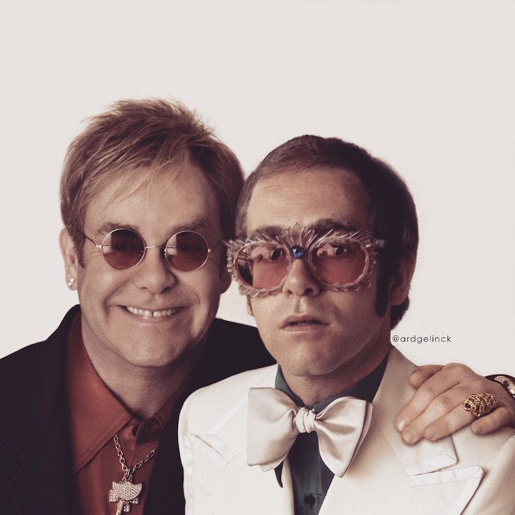 25 Photos Of Celebrities Posing With Their Younger Selves Elton John Celebrity Photos Celebrities Then And Now