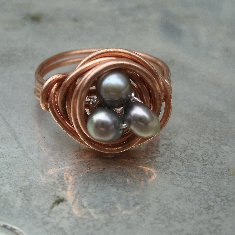 Birds Nest Ring - Copper Egg Nest Ring - Custom Freshwater Pearl ...