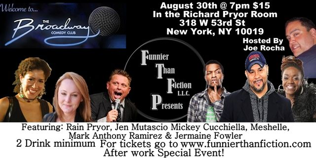Funnier Than Fiction Presents Broadway Comedy Club Comedy Club Comedy Fiction