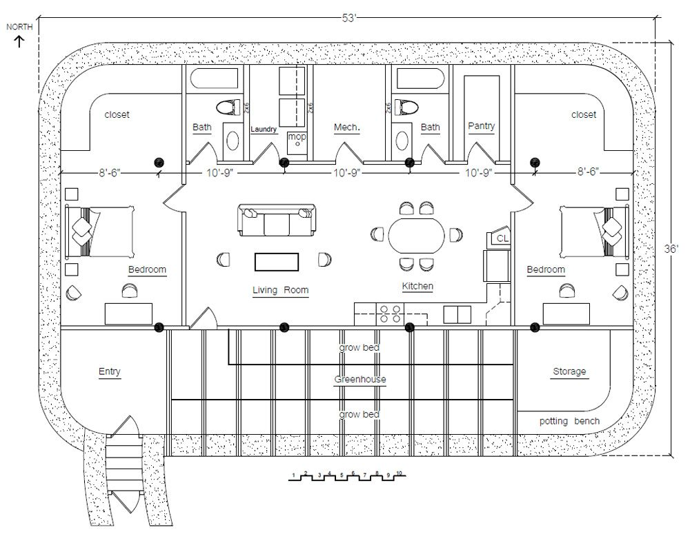 Solar pit house solar living spaces and house for Earthbag house plans free