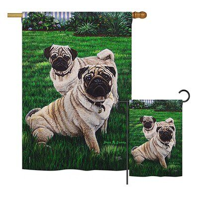 Breeze Decor Pugs Love Nature Pets 2 Sided Polyester 2 4 X 3 4 Ft