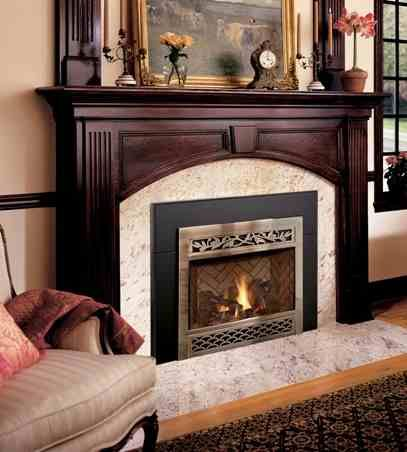 Virginia Mantel in the Exclusive Series.  Cherry Wood Brindle Finish Venetian Gold Granite Stone Package