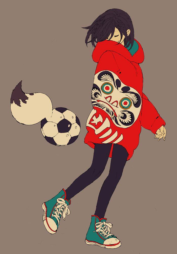 てんてん狐の化け蹴鞠 Art イラスト 女の子イラスト かっこいい 蹴鞠