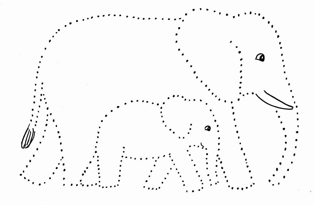 Elephant And Baby Dot Drawing - Samantha Bell
