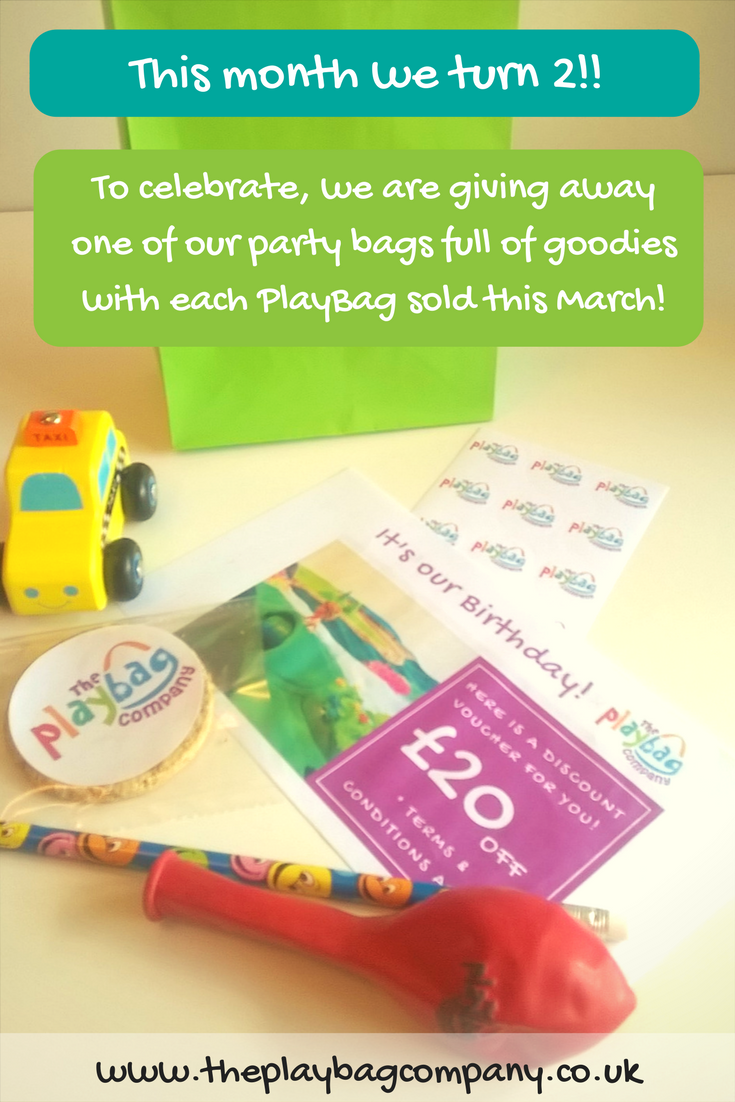 It's not every day you get to celebrate a birthday, and we love a party, so we are giving away one of our party bags with each PlayBag sold this March! You can expect a selection of goodies including a gift voucher, wooden toy, balloon and something chocolatey!!