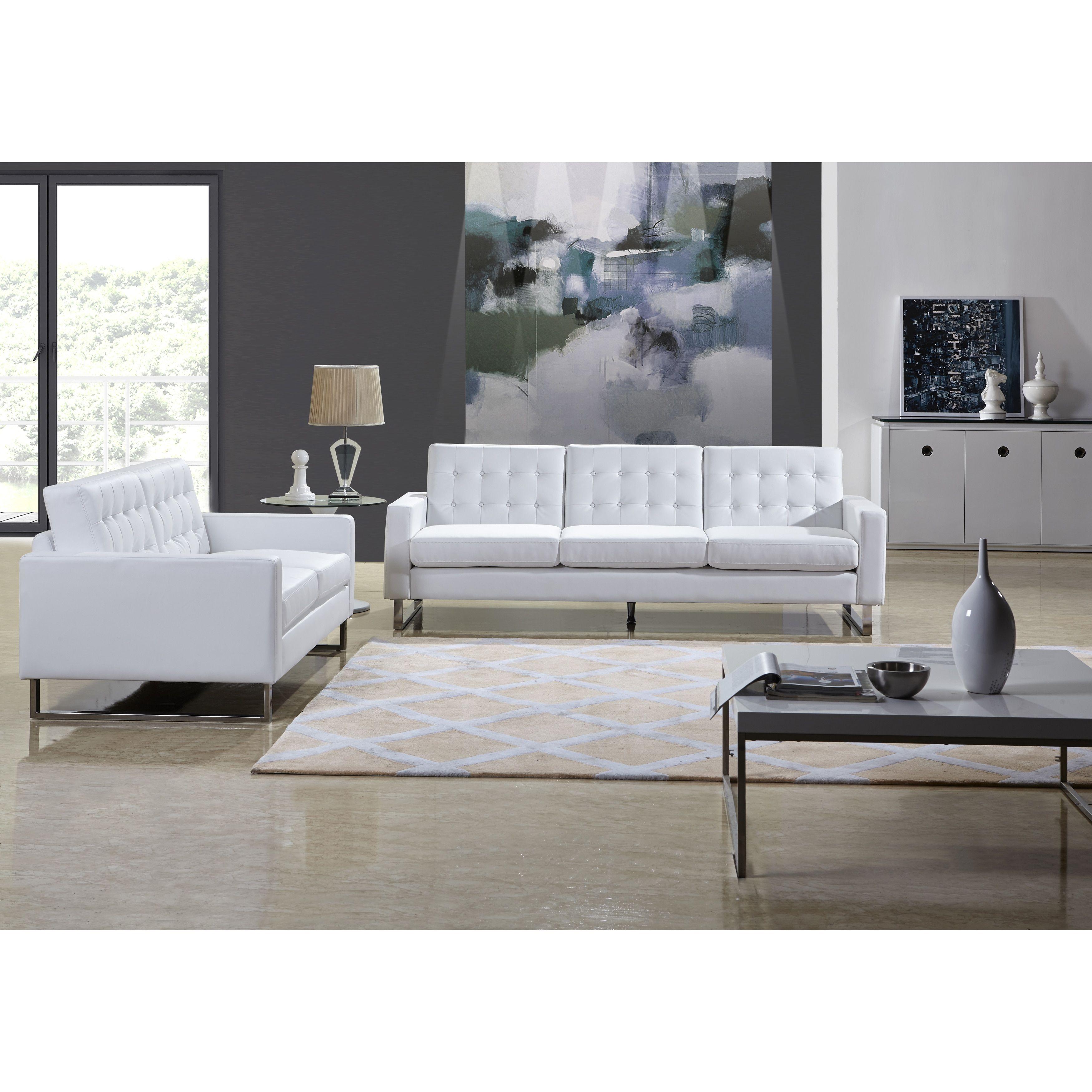 Us Pride Furniture Angela White Leather Modern Sofa And Loveseat  ~ Modern Sofa And Loveseat Sets