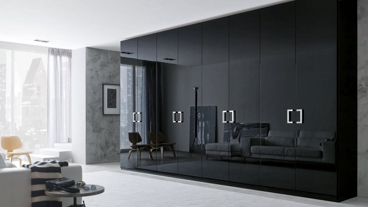 Attirant Modern And Fancy Bedroom Wardrobes And Closets : Elegant Honeycomb Sandwich  Glossy Black Large Bedroom Wardrobe Design With Eight Doors And Floor Up To  ...