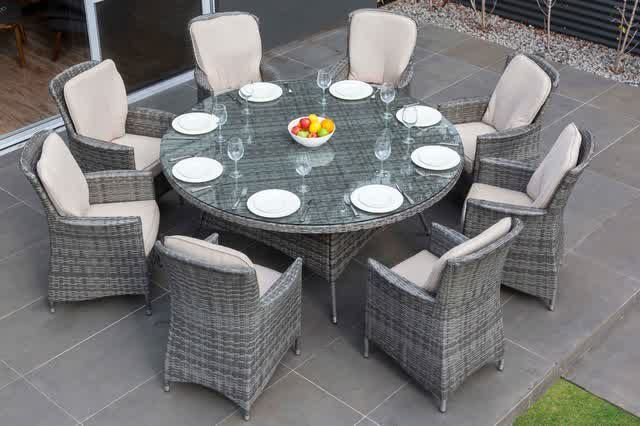 Grey Round Dining Table For 8 Melbourne Outdoor Wicker Dining