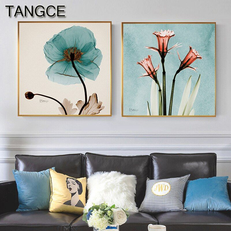 Pink Green Flower Leaf Nordic Poster Wall Art Canvas Painting Abstract Posters And Prints Wall Pictures For Living Room Decor In 2020 Flower Painting Canvas Canvas Wall Art Living Room Dining