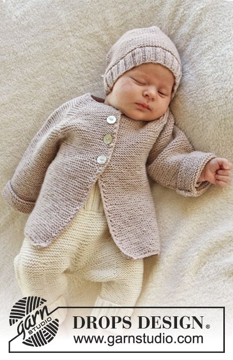 "Knitted DROPS jacket in garter st with raglan in ""Baby Merino"". Size ..."