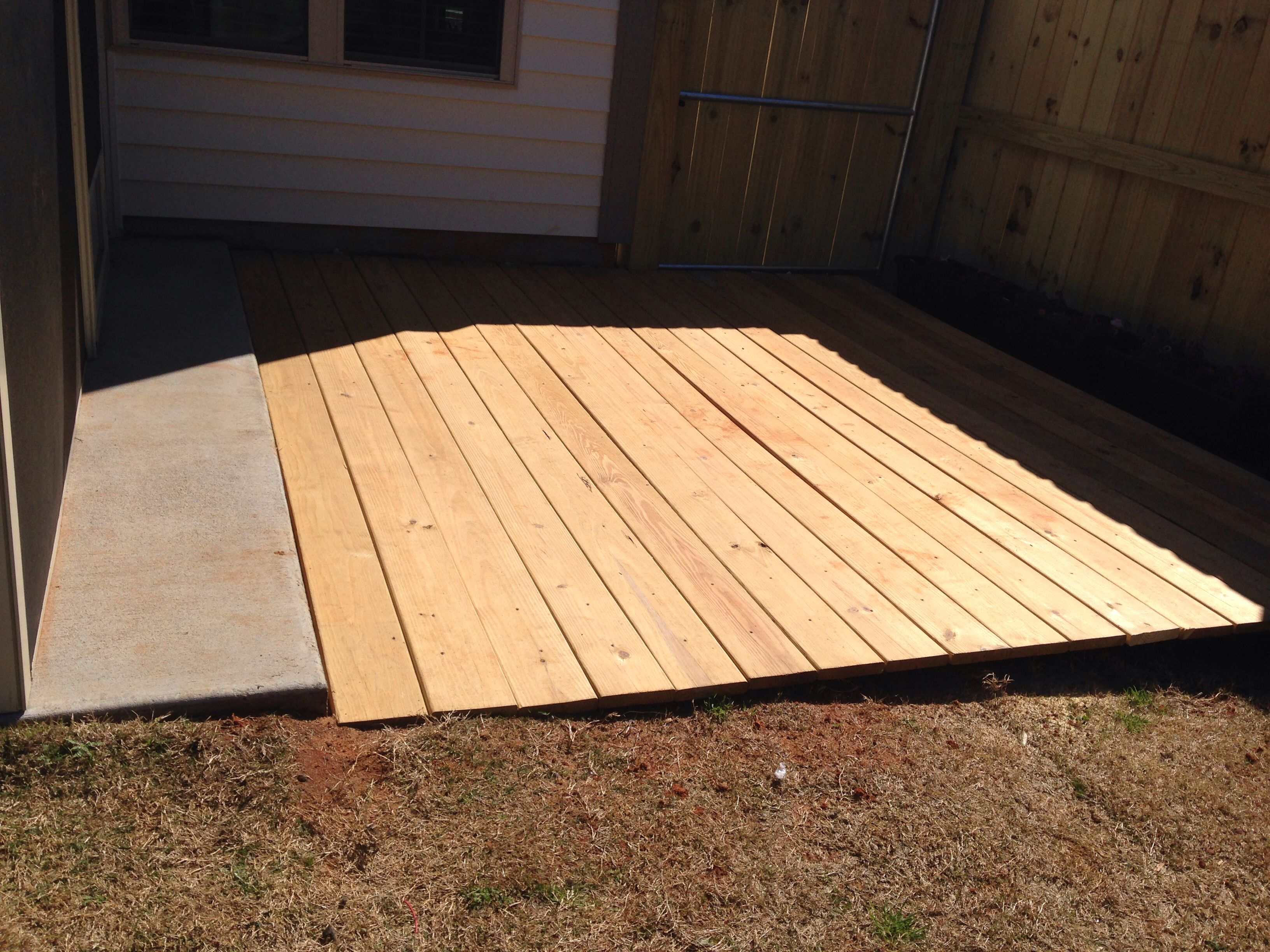 Extreme weather boards from Lowes installed | Small backyard Deck ...