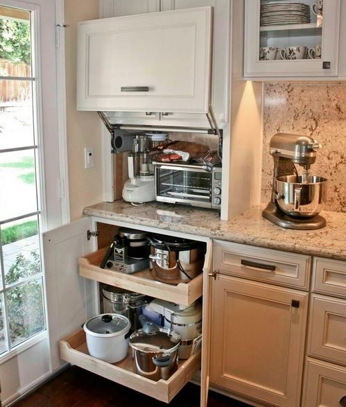 Creative Appliances Storage Ideas For Small Kitchens Small Kitchen Appliance Storage Kitchen Renovation Outdoor Kitchen Appliances
