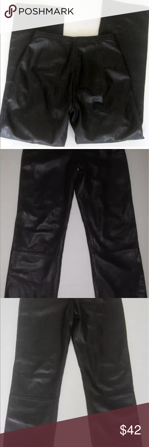 30 inch waist Black Leather Jeans Zip Fly