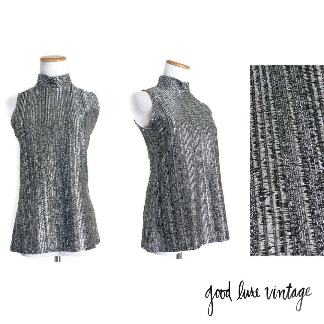 0e8e992473df8e Silver Blouse Sparkly Top Mock Turtleneck Sleeveless Shirt Lurex Metallic  Glitter 60s Mod 1960s Gunmetal Sparkle Size Medium Large by GoodLuxeVintage  on ...