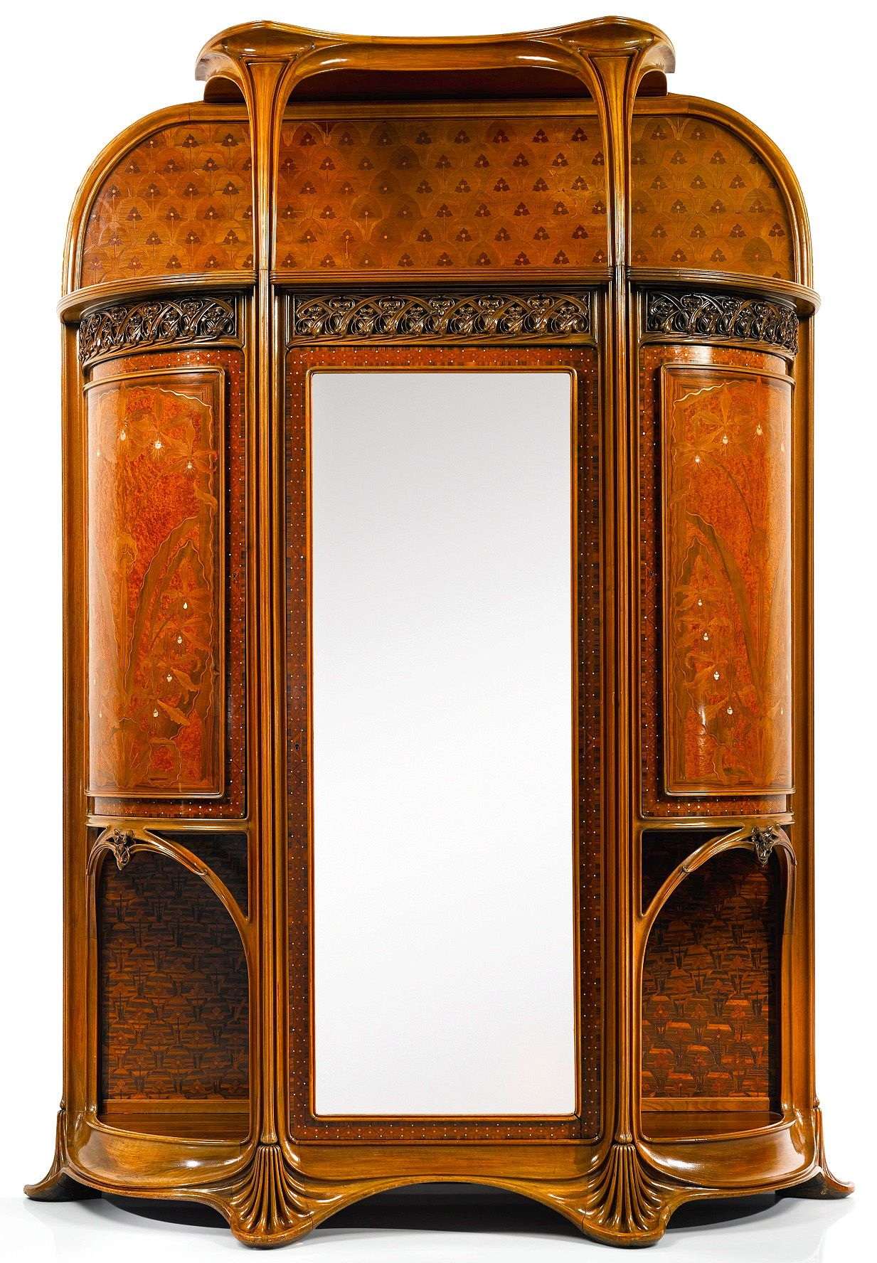 """ufansius: """" Walnut and macassar ebony Aux Orchideés (The Orchids) bedroom suite with exotic wood marquetry and copper and mother-of-pearl inlays - Louis Majorelle, circa 1900: • Bed • Bedside tables • Bureau (photos 3 & 4) • Armoire • Dressing table..."""