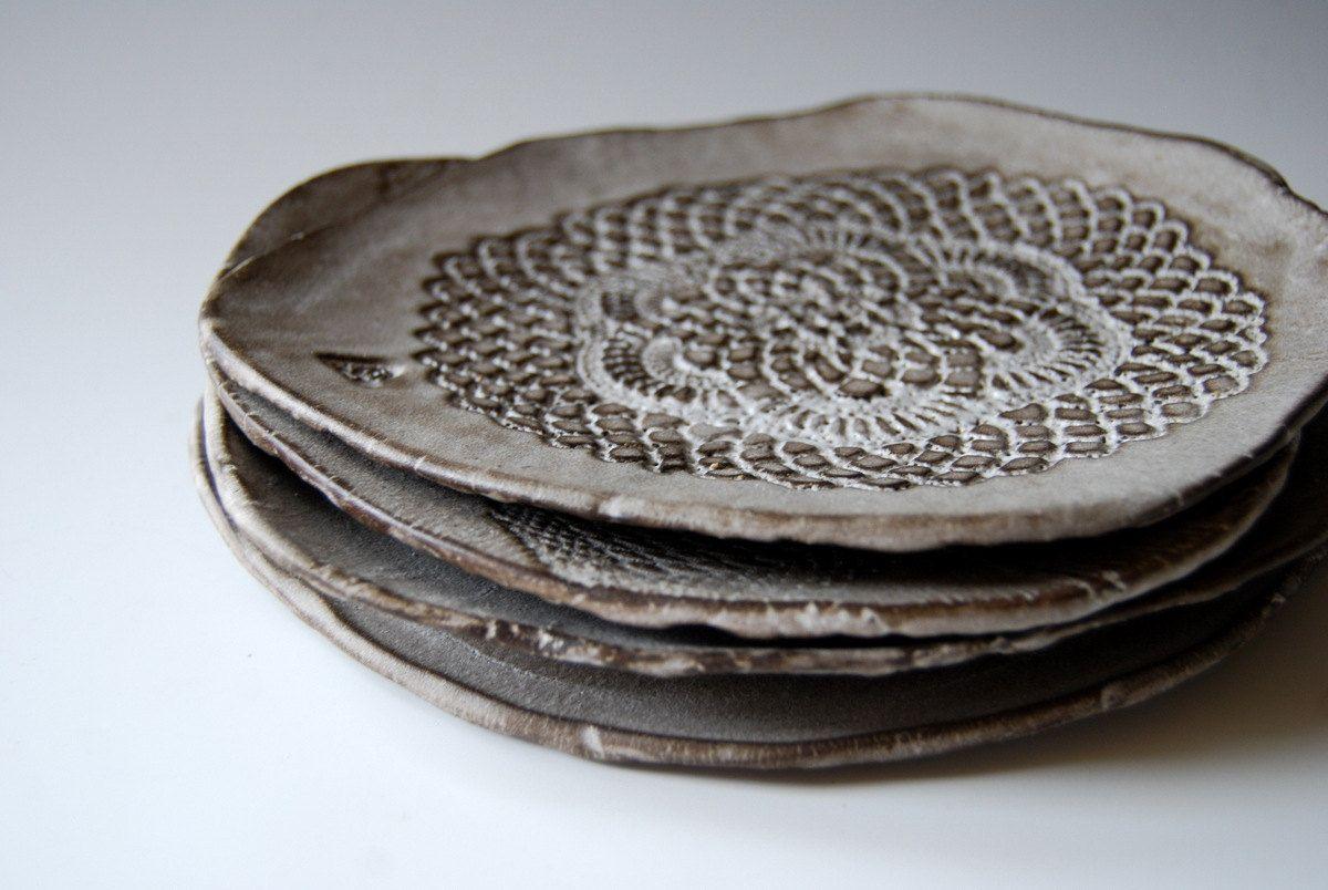 Ceramic plates for dessert, Handmade, set of 4, by ...