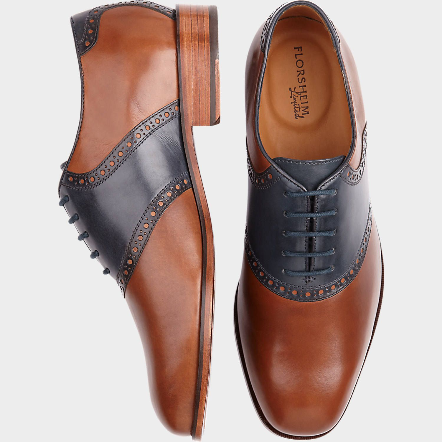 Florsheim Cognac and Navy Oxford Saddle Shoes | Mens Wearhouse ...