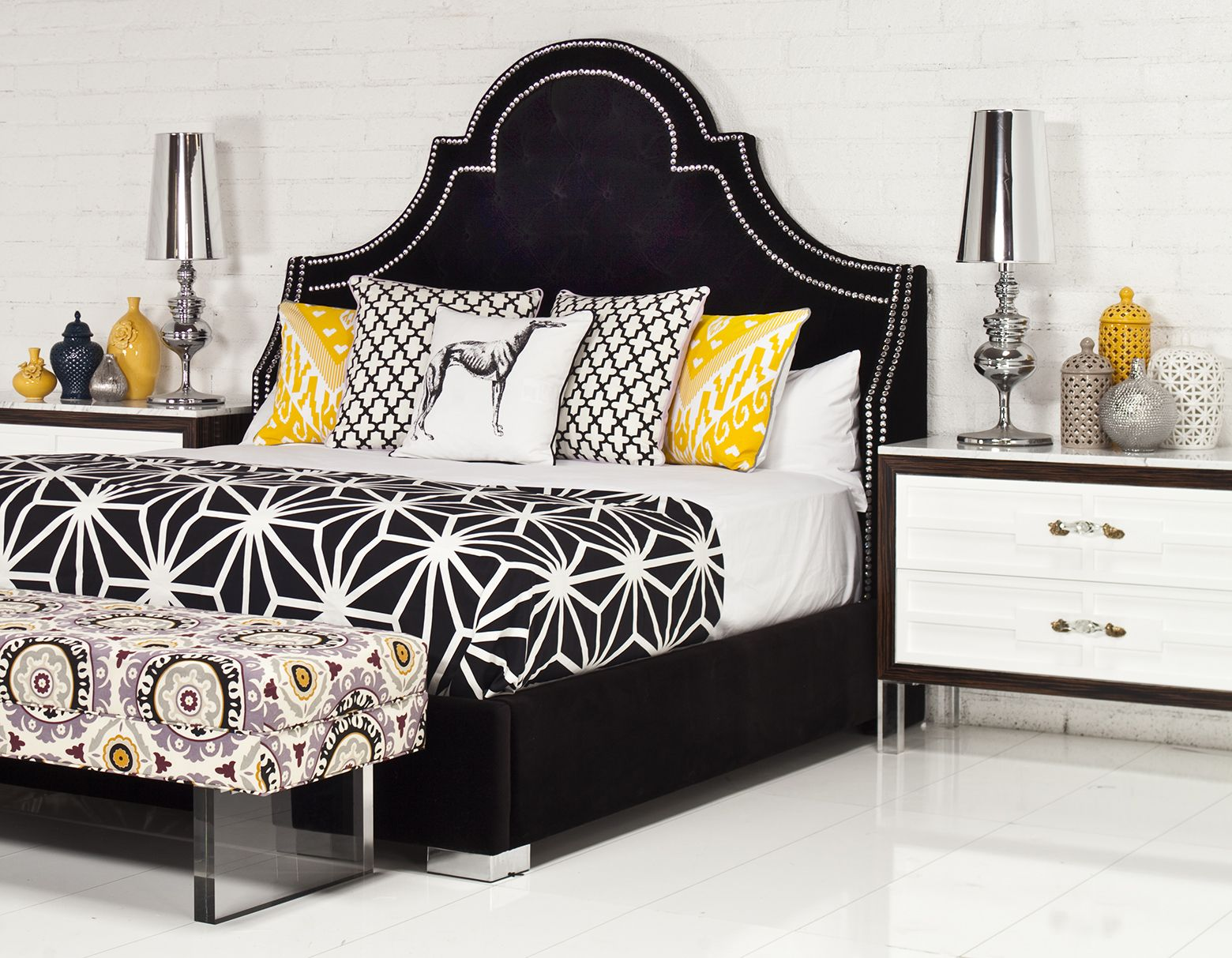 Hollywood Bed with St. Tropez Nightstands by ROOM SERVICE