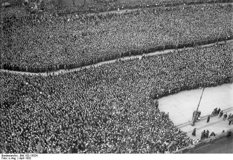 Crowd gathering to hear Adolf Hitler speak during the German Presidental Election of 1932, Berlin, Germany, Apr 1932