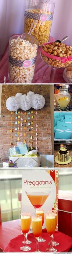 The rain drops is what we did for Amber's shower except we'd use the correct colors for the rain drops...maybe a cream colored cloud? It's just tissue paper.
