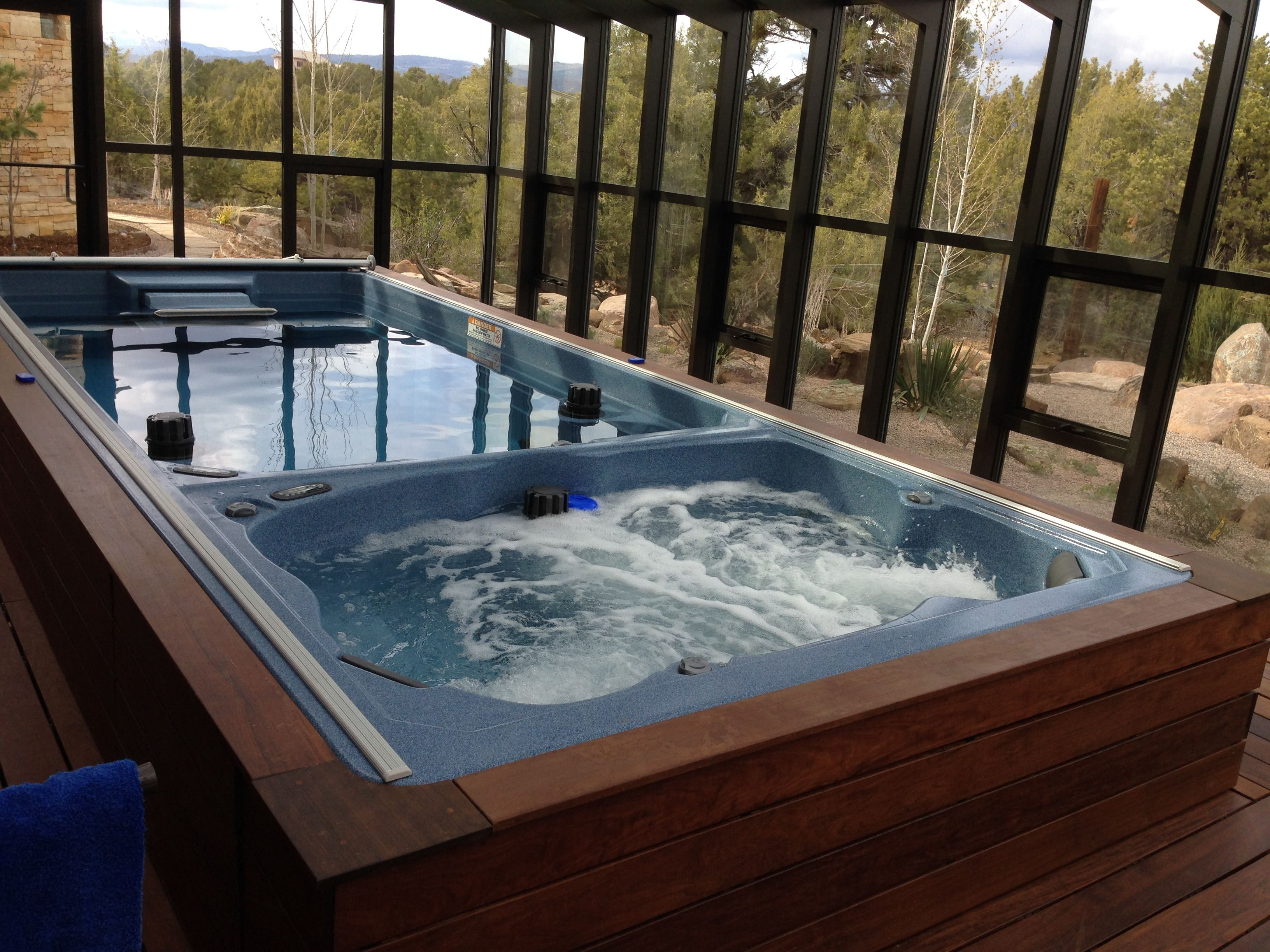 Swimming Spa And Hot Tub All In One The Endless Pools Dual Temp Swim Spa Delivers The Best Of