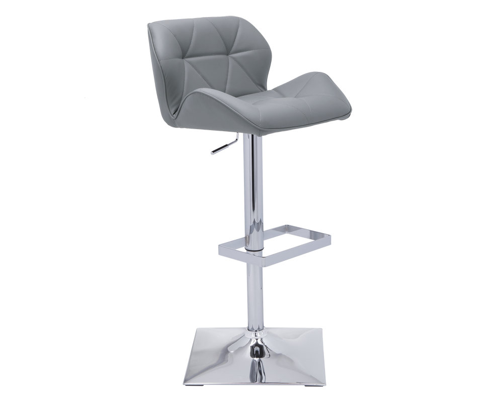 "BOULTON ADJUSTABLE BARSTOOL | GRAPHITE | This adjustable barstool is a mix of modern and retro design, with its bold curved edges and sleek base and footrest. Stocked in graphite, onyx and snow faux leather. Seat height adjusts from 25"" to 33""."