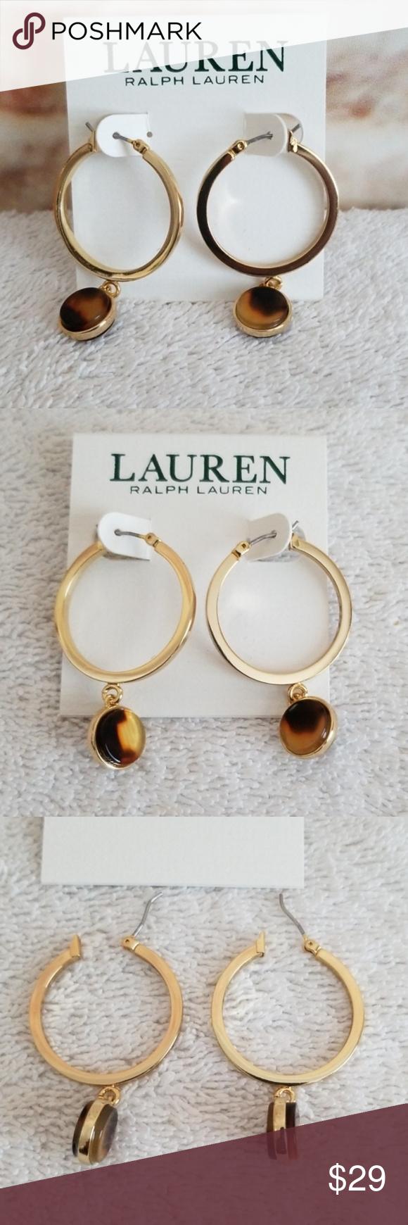 New Ralph Lauren Tortoise-Look Hoop Earrings New…never used  1″ gold tone hoop…,  #Earrin…
