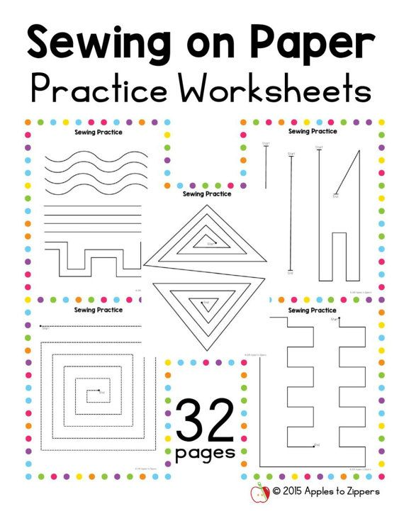{Practice Sewing Worksheets by ApplestoZippers on Etsy – Sewing Worksheets