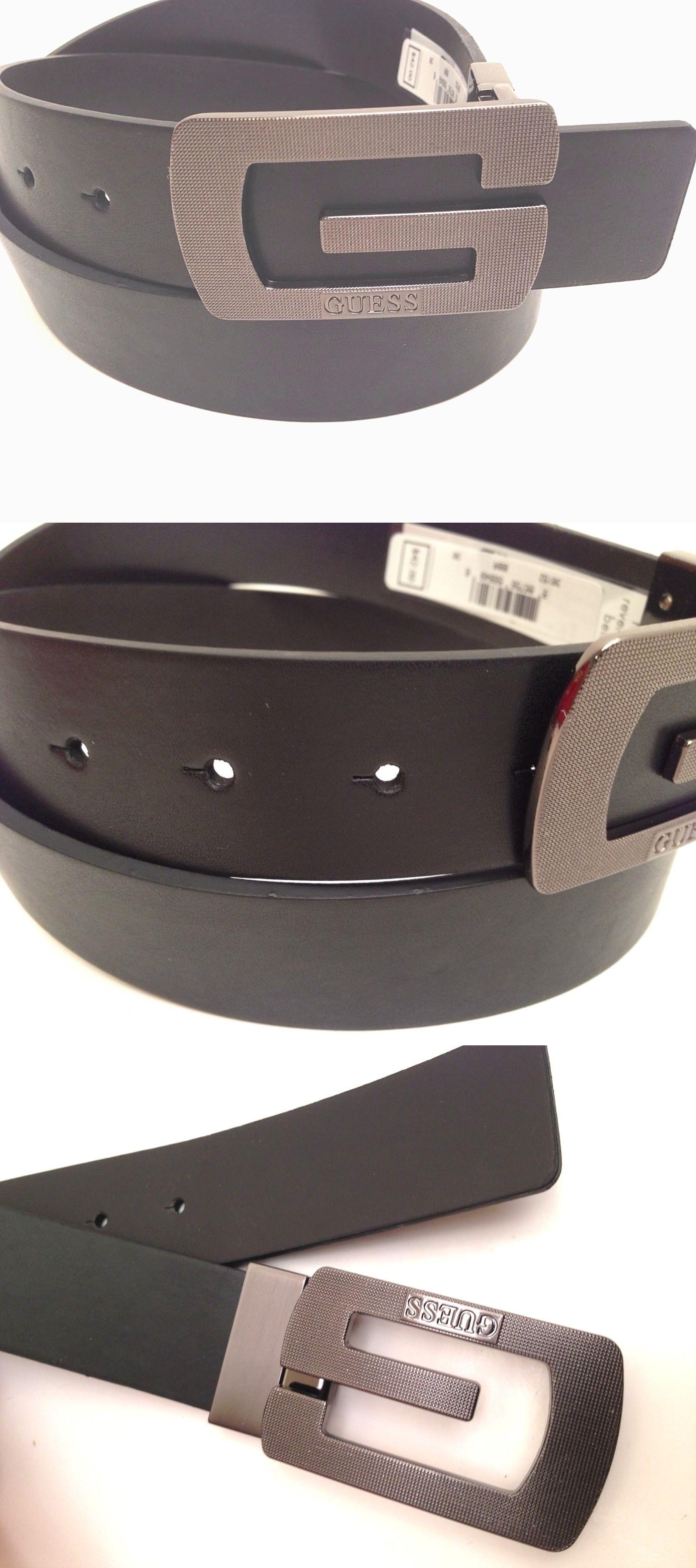 f84fc31f555 Belts 2993  Guess Men S Belt Reversible Black-Brown W G Dark Grey Buckle Sz