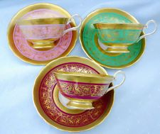 SET OF 3 ROYAL CHELSEA COLLECTION GOLD ETCH MIDAS TEA CUP AND SAUCER
