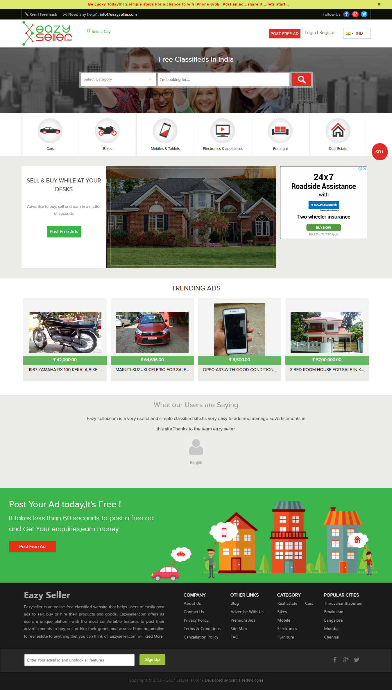 Eazyseller is an online free classified website that helps users to