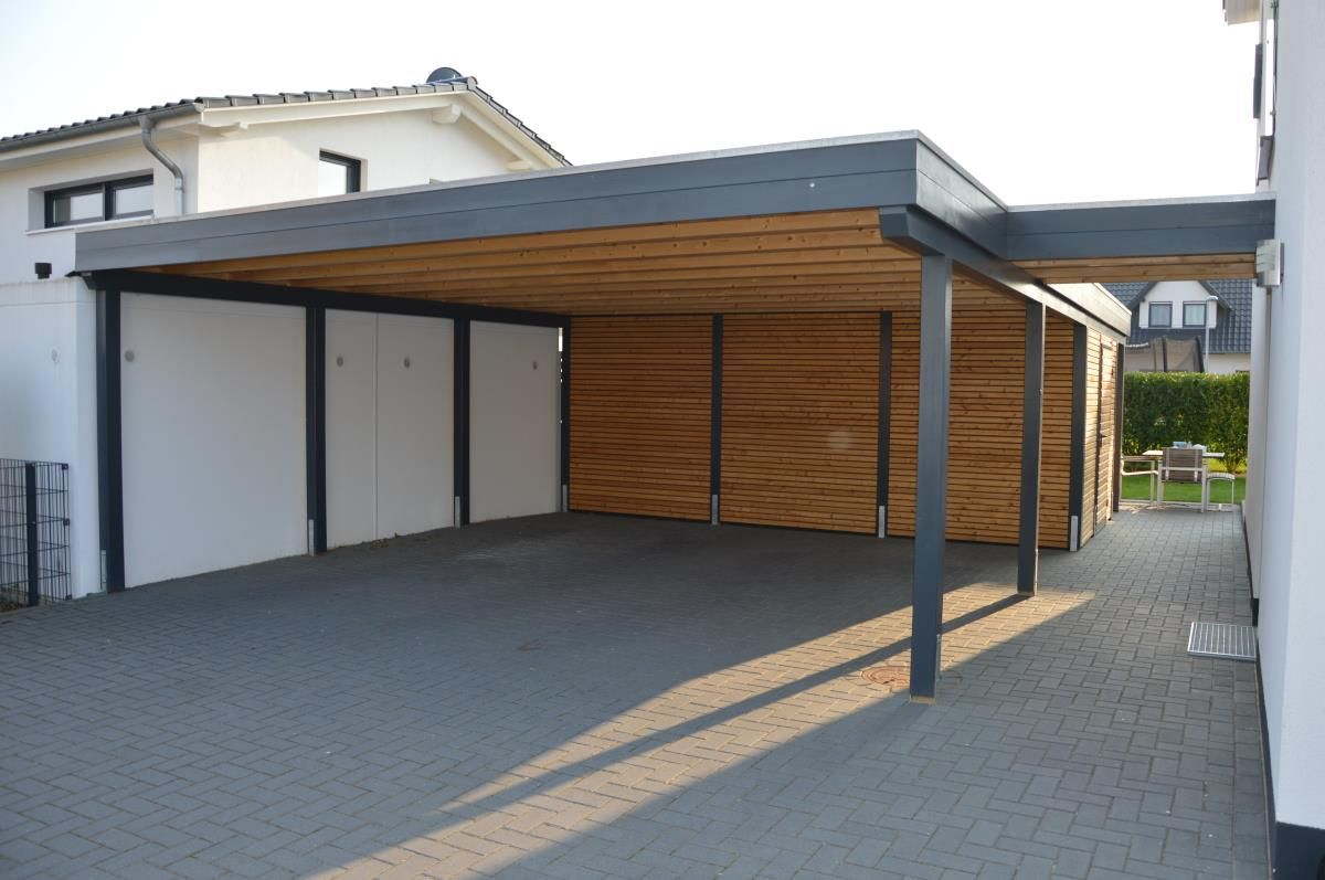 carport mit schuppen flachdach carport mit schuppen. Black Bedroom Furniture Sets. Home Design Ideas