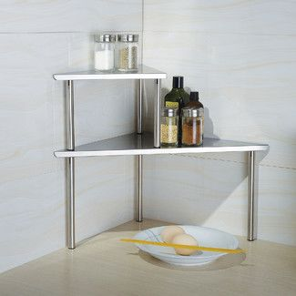 <strong>Cook N Home</strong> 2 Piece Stainless Steel Corner Storage Shelf Set