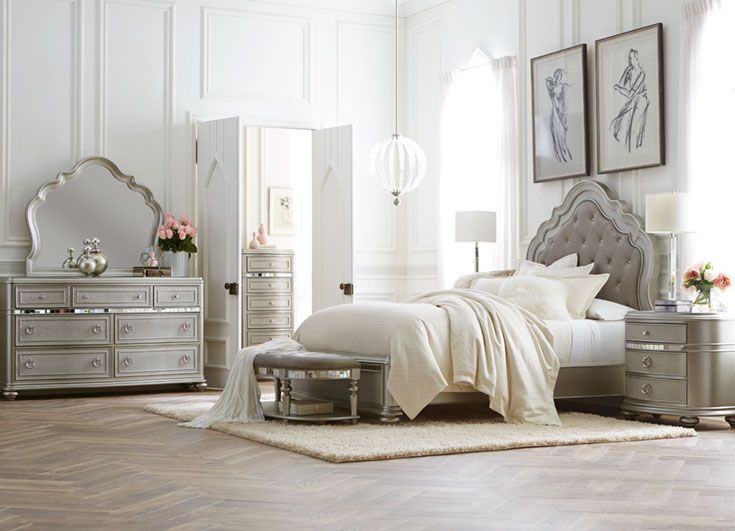 Here S A Bed Fit For A Parisian Princess The Havertys Brigitte Bedroom Collection Featu Bedroom Sets Modern Luxury Bedroom Furniture Contemporary Bedroom Sets