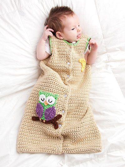 Free Crochet Pattern Baby Sleeping Bag : Owl Sleep Sack Crochet Pattern. I wish someone could make ...