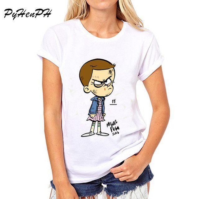 PyHen New 2017 Stranger Things T Shirt Women Short Sleeve tops tee shirt female summer womens t-shirts american apparel