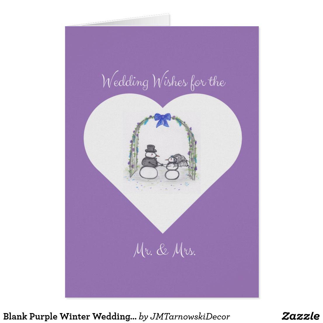 Blank Purple Winter Wedding Wishes Greeting Card Purple Winter