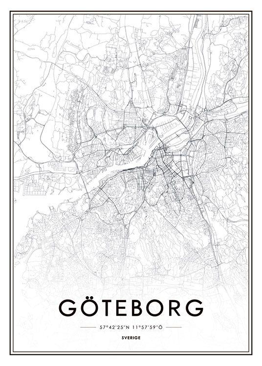 poster karta Stylish Gothenburg print. | Wanderlust | Pinterest | Gothenburg  poster karta