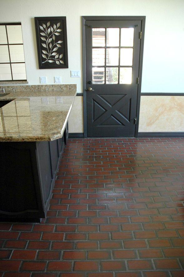 brick floor in kitchen - starting to dig the shiny brick kitchen ...