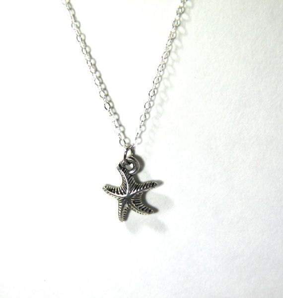 Silver Starfish Pendant Ocean Inspired Beach Charm Good Luck Lucky Inspirational Friendship Beach Wedding Bridesmaid Mother Daughter Gift